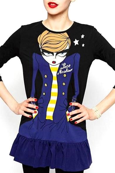 Long Sleeve Beautiful Eyelash Lady Print Ruffle Hem Dress
