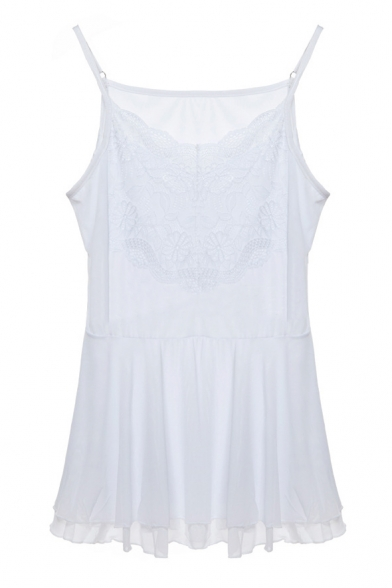 White Lace Insert Double Layer Ruffle Hem Camis