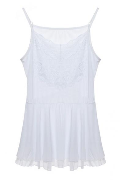 White Lace Insert Double Layer Ruffle Hem Camis