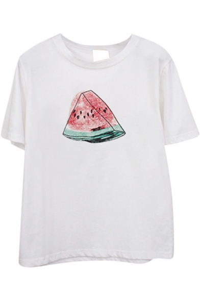 White Short Sleeve Color Ink Watermelon Print T-Shirt