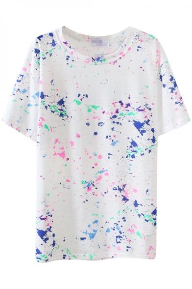 White Short Sleeve Ink Color Graffiti T-Shirt