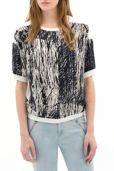 White Short Sleeve Landscape Print Chiffon T-Shirt