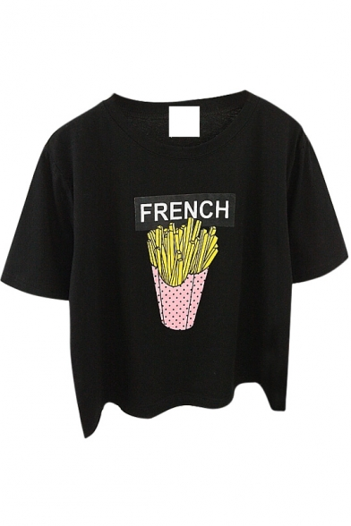 Cartoon French Fries Print Crop T-Shirt