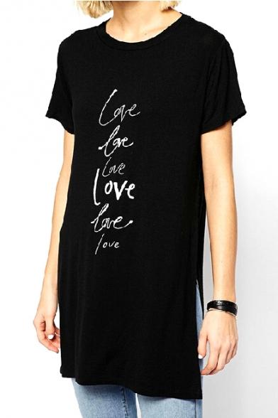 Black short sleeve long line split hem letter print t for Long line short sleeve t shirt