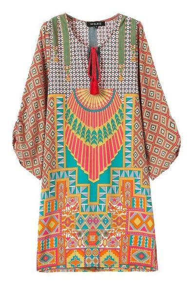 Drawstring Round Neck Tribal Geometry Pattern Shift Dress