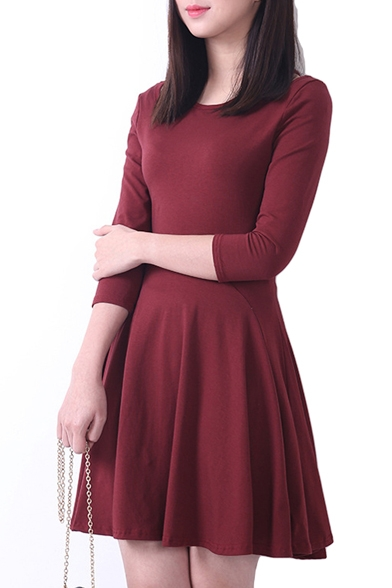 Plain Ruffle Hem Open Shoulder 3 4 Sleeve Fitted Dress