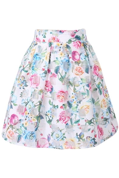 White Background Fresh Rose Print Organza Pleated Skirt