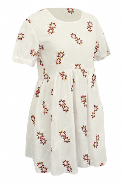 Red Delicate Flora Embroidered White Short Sleeve A-line Dress
