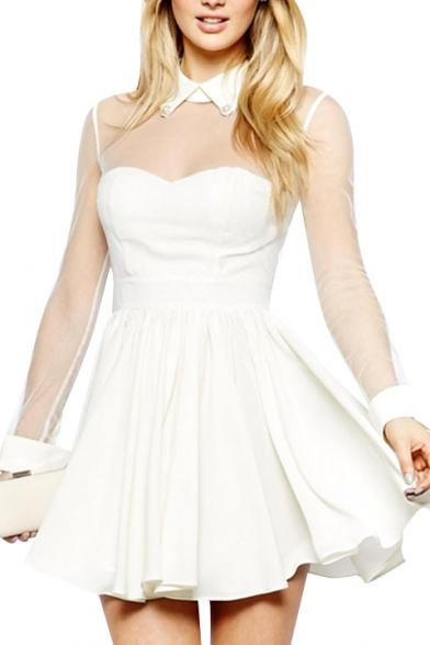 4f0ebccb4c Sheer Mesh Panel Top Sweetheart Neck Lapel A-line White Dress -  Beautifulhalo.com