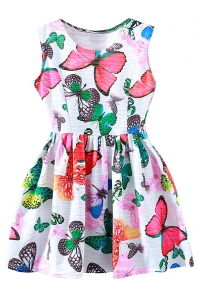 White Background Colorful Butterfly A-line Tanks Dress