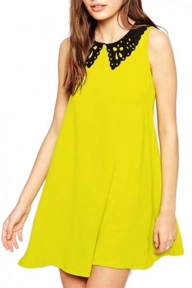 Yellow Peter Pan Collar Sleeveless Shift Dress