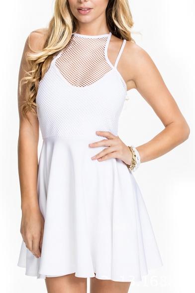White Plain Net Panel Sleeveless Ruffle Hem Dress
