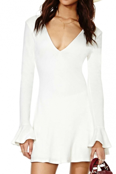 ebcea5dc5cfb White V-neck Backless Mini Dress with Bell Sleeve - Beautifulhalo.com