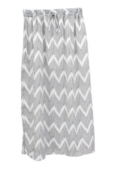 Light Gray Curve Pattern Drawstring Waist Chiffon Tube Skirt