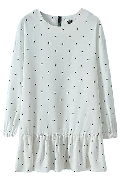 Small Polka Dot Pattern Round Neck Long Sleeve Dress With