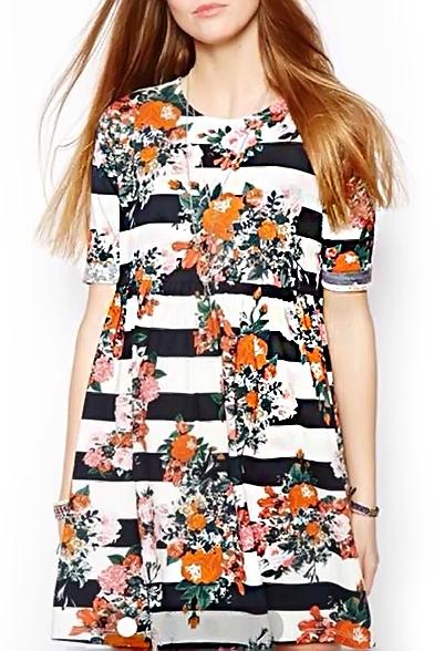 Strip Floral Print Gathered Waist Ruffle Hem Dress