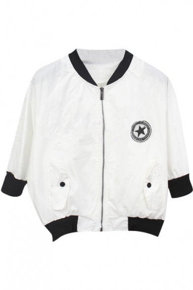 White 3/4 Sleeve Star Print Crop Baseball Jacket