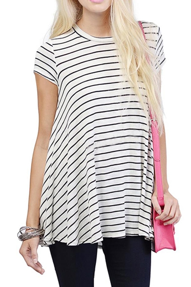 Short Neck Fitted Round Line T Sleeve Loose Shirt A ZvwgFqF
