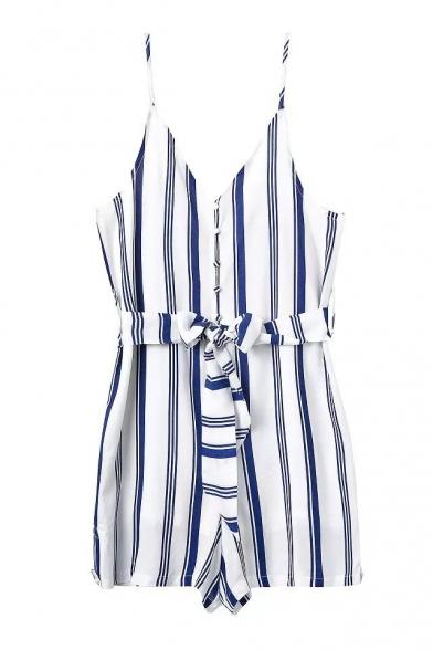 Blue Vertical Stripe V-Neck Slip Bow Waist Rompers