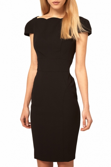 Boat Neck V-Back Short Sleeve Slim Office Lady Style Dress