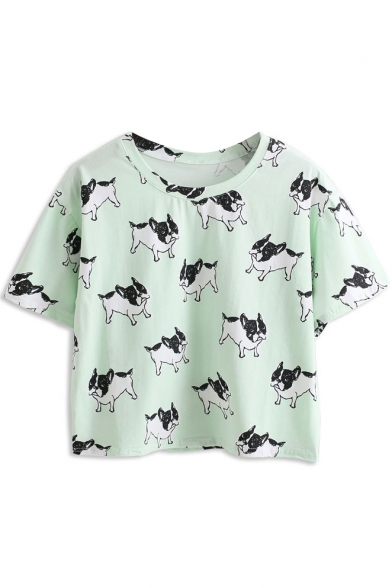 Bulldog Print Short Sleeve T-Shirt