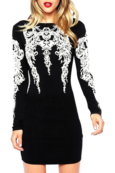 Backless Front Vintage Totem Embroidered Long Sleeve Slim Dress
