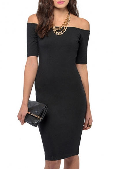 Off-The-Shoulder Fitted Midi Dress