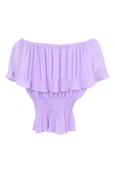 Lilac Ruffle Layer Off-the-Shoulder Elastic Waist Chiffon Blouse