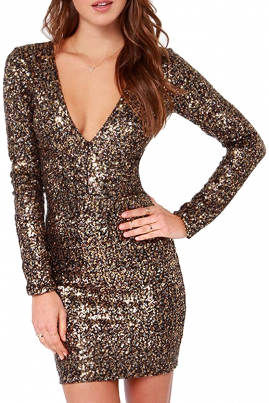 Shining Gold Sequins Cover Bodycon Sexy V-Neck Dress