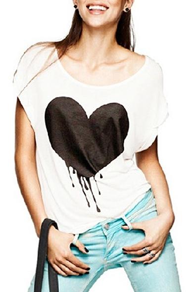 White Short Sleeve Melting Heart Print T-Shirt