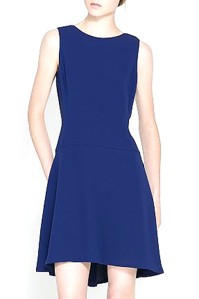Blue Open Back Sleeveless Midi Skater Dress