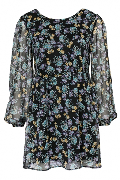 Green Floral Print Vintage Style Sheer Sleeve Chiffon Mini Dress