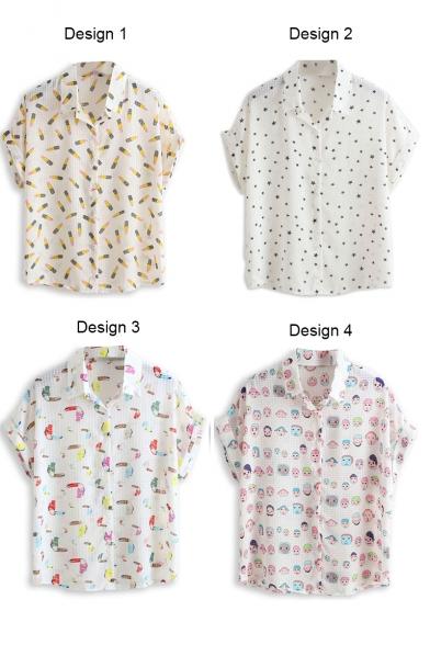 Men's Head Print Short Sleeve Chiffon Shirt