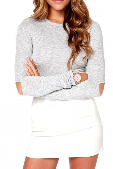 Plain Round Neck Long Sleeve Crop Top With Cutout Elbow