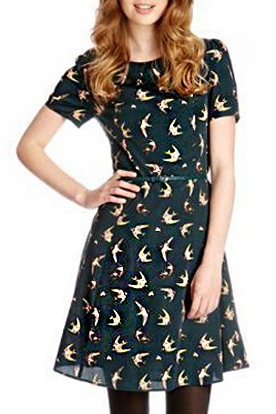 0de7ea89a25d Short Sleeve Dark Green Back Birds Print A-line Midi Dress with Belt -  Beautifulhalo.com