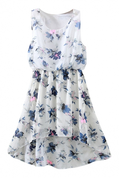White Background Blue Flower Elastic Waist Chiffon Tanks