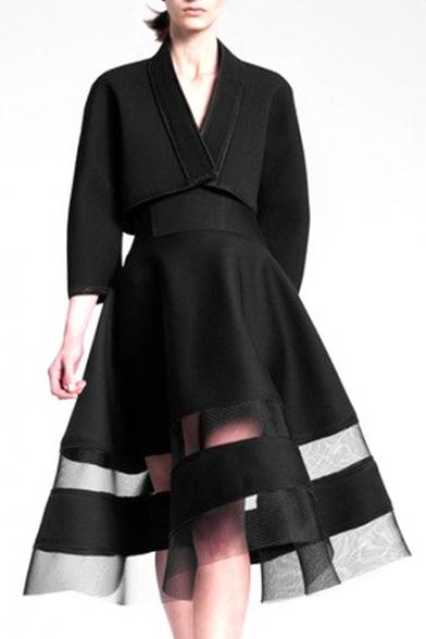 Black Sheer Mesh Panel High Waist Midi A-line Skirt