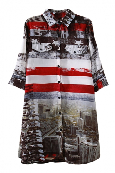 National Flag&City Scenery Print Shirt Midi Dress