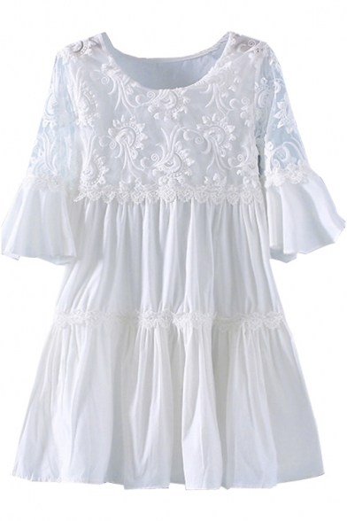 Short Flare Sleeve Lace Embroidered Flower Insert Smock Dress