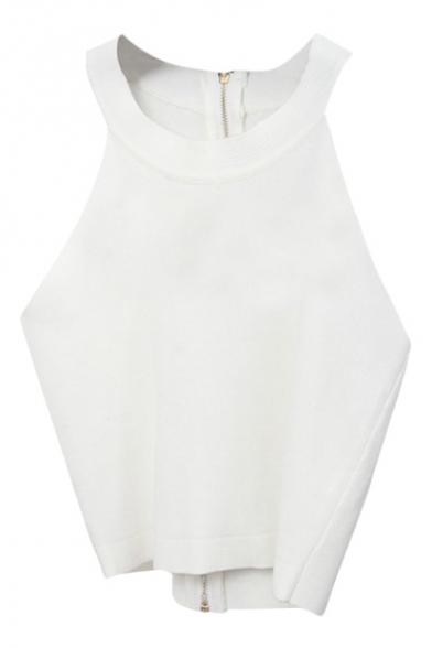 White Back Zip Round Neck Knitting Crop Camis