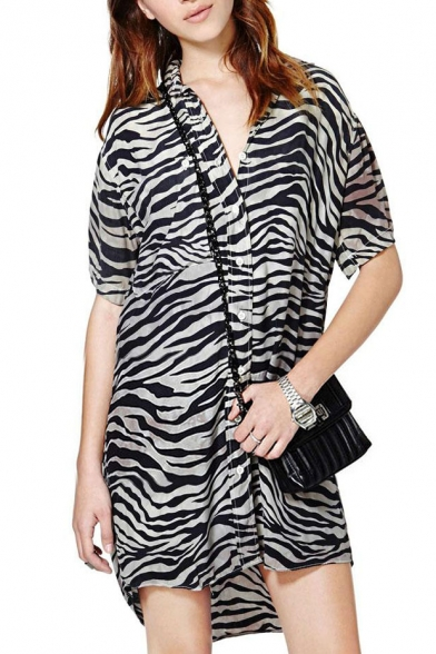 Zebra Striped Print Lapel Long Sleeve Tunic Shirt with Dip Hem