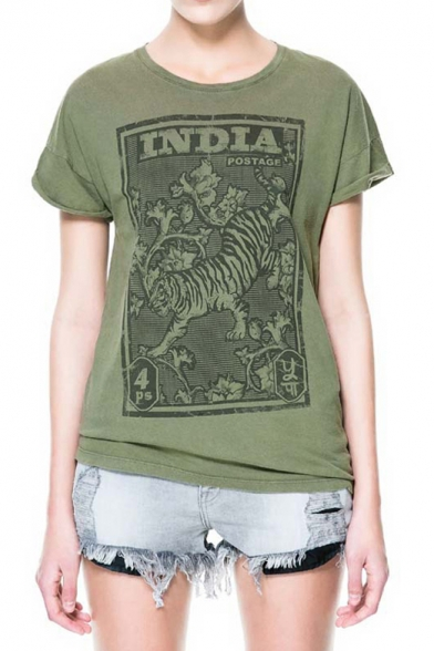 India Tiger Stamp Print Cotton T Shirt With Round Neck