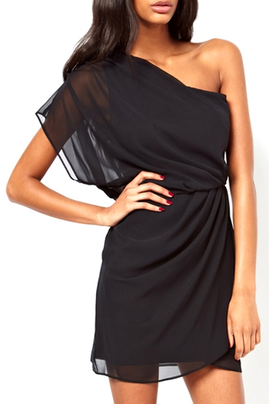 one shoulder chiffon mini dress
