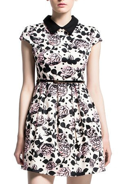 6a2d157b166 Floral Print Peter Pan Collar Cap Sleeve Pleated Dress - Beautifulhalo.com