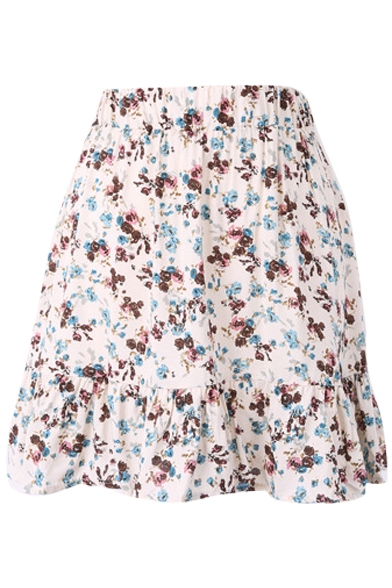 White Background Colorful Flora Elastic Waist Short Skirt