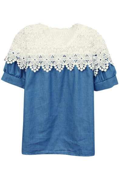 White Lace Cutwork Panel Denim Short Sleeve Blouse