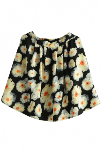 Black Background Ink Color Flora Short Skirt