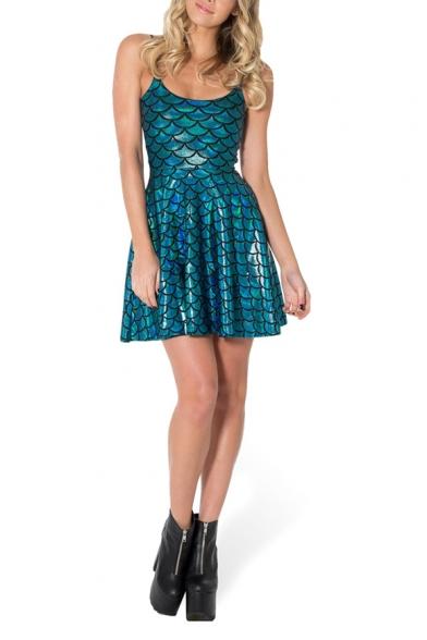 4b3b0ce8bbbf Blue Mermaid Scale Print Shining A-line Tank Dress - Beautifulhalo.com