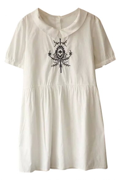 White Short Sleeve Vintage Mirror Embroidered Babydoll Dress