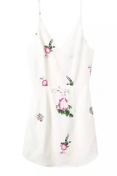 White V-Neck Flower Print Slip Slim Dress